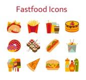Iconos de la comida rápida y del streetfood fijados Imágenes de archivo libres de regalías