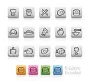 Iconos de la comida y de la bebida - 1 -- Botones del esquema Foto de archivo