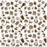 iconos de la comida y de la bebida del menú del vector fijados Foto de archivo libre de regalías