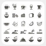Iconos de la comida y de la bebida fijados Fotos de archivo