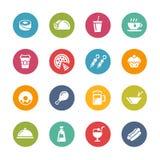 Iconos de la comida y de la bebida - 2 -- Serie fresca de los colores Fotografía de archivo libre de regalías