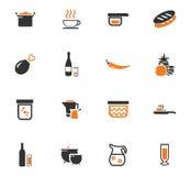Iconos de la comida y de la cocina fijados Imagen de archivo libre de regalías