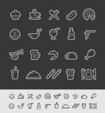 Iconos de la comida y de las bebidas - sistema 2 de la línea negra serie de 2 // Imágenes de archivo libres de regalías