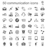 50 iconos de la comunicación stock de ilustración