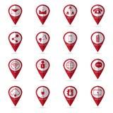 Iconos de la comunicación con el icono de la ubicación Imagen de archivo libre de regalías