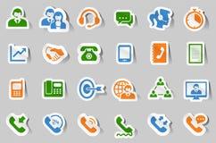 24 iconos de la comunicación del centro de atención telefónica - etiqueta engomada ilustración del vector