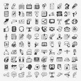 Iconos de la comunicación del garabato fijados Imagen de archivo libre de regalías