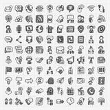 Iconos de la comunicación del garabato fijados Imagenes de archivo