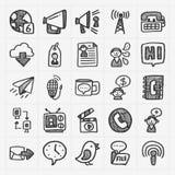 Iconos de la comunicación del garabato fijados Foto de archivo