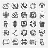 Iconos de la comunicación del garabato fijados Fotografía de archivo