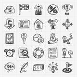 Iconos de la comunicación del garabato fijados Fotos de archivo libres de regalías
