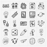 Iconos de la comunicación del garabato fijados Imagen de archivo