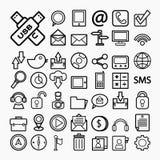 Iconos de la comunicación en el Libro Blanco Ilustración Foto de archivo libre de regalías
