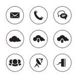 Iconos de la comunicación en los contextos blancos y negros Imagenes de archivo