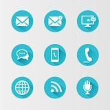 Iconos de la comunicación fijados stock de ilustración
