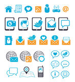 Iconos de la comunicación para la charla móvil del email Fotos de archivo