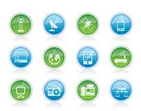 Iconos de la comunicación y de la tecnología Imágenes de archivo libres de regalías