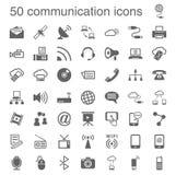 50 iconos de la comunicación Fotografía de archivo