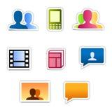 Iconos de la comunidad del estilo de la etiqueta engomada Imagen de archivo libre de regalías