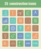 25 iconos de la construcción Fotografía de archivo libre de regalías