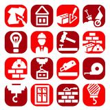Iconos de la construcción del color fijados stock de ilustración