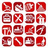 Iconos de la construcción y de la reparación del color fijados ilustración del vector