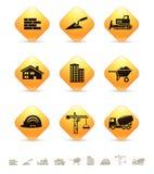 Iconos de la construcción y de los bienes raices en los botones rombales amarillos Imagen de archivo libre de regalías