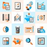 Iconos de la contabilidad fijados Fotografía de archivo libre de regalías