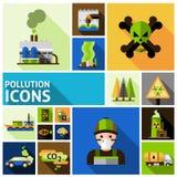 Iconos de la contaminación fijados stock de ilustración