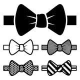 Iconos de la corbata de lazo fijados Fotos de archivo libres de regalías