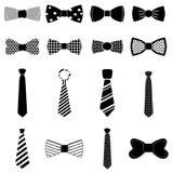 Iconos de la corbata de lazo fijados Imágenes de archivo libres de regalías