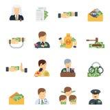 Iconos de la corrupción planos Imagen de archivo libre de regalías