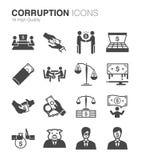 Iconos de la corrupción y del soborno fijados ilustración del vector
