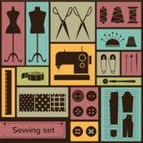 Iconos de la costura plana del vector fijados Imagenes de archivo