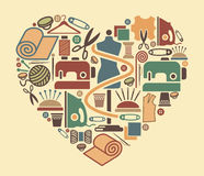 Iconos de la costura y de la costura Imagen de archivo libre de regalías