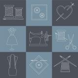 Iconos de la costura y de la costura Fotos de archivo