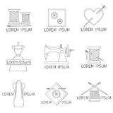 Iconos de la costura y de la costura Foto de archivo libre de regalías