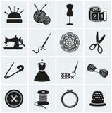 Iconos de la costura y de la costura Sistema del vector Fotografía de archivo libre de regalías