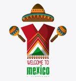 Iconos de la cultura de México en el estilo plano del diseño, ejemplo del vector Imagen de archivo libre de regalías