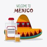 Iconos de la cultura de México en el estilo plano del diseño, ejemplo del vector Imágenes de archivo libres de regalías
