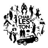 Iconos de la danza de Charleston Coches, muchachas de la aleta, gángsteres y bailarines de Charleston stock de ilustración