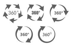 iconos de la descripción de 360 grados ilustración del vector