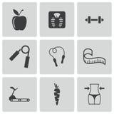 Iconos de la dieta del negro del vector fijados Foto de archivo libre de regalías