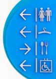 Iconos de la dirección Retretes, suspensión, comida y acceso discapacitado Foto de archivo libre de regalías