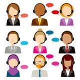 Iconos de la diversidad del servicio del centro de atención telefónica ilustración del vector
