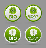 Iconos de la divisa del producto bio y natural Imagen de archivo libre de regalías