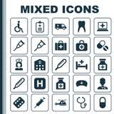 Iconos de la droga fijados Colección de pelotilla, bolso quirúrgico, niñera And Other Elements También incluye símbolos tal como  libre illustration