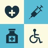 Iconos de la droga fijados La colección de discapacitado, calmante, cura y otros elementos También incluye símbolos tal como cáps ilustración del vector