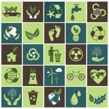 Iconos de la ecología fijados en verde y marrón Fotos de archivo