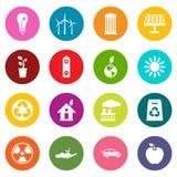 Iconos de la ecología sistema de muchos colores stock de ilustración